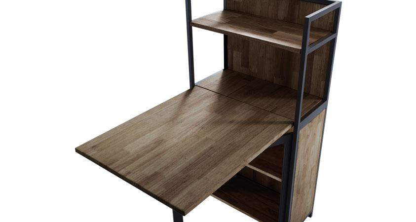 ESTANTERIA CON MESA PLEGABLE SHELF EN MADERA DE ROBLE OSCURO