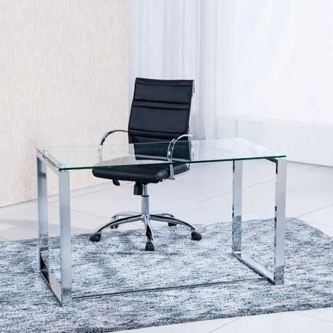 Mesa estudio benetto 120 cm patas blancas sedutahome - Mesa estudio cristal ...
